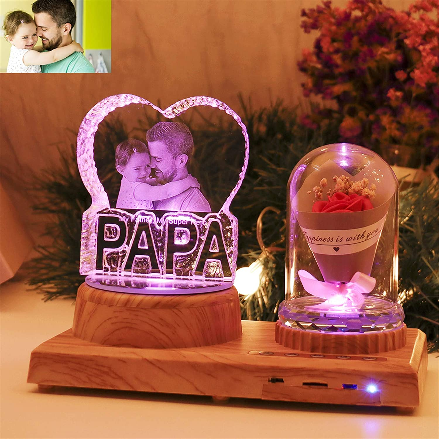 Personalized PAPA Night Light 3D Crystal Lamp Custom Photo Picture Engraved Led Light 7 Color with Bluetooth Rose Wood Base Personalized Gift for Women PAPA Christmas Decoration