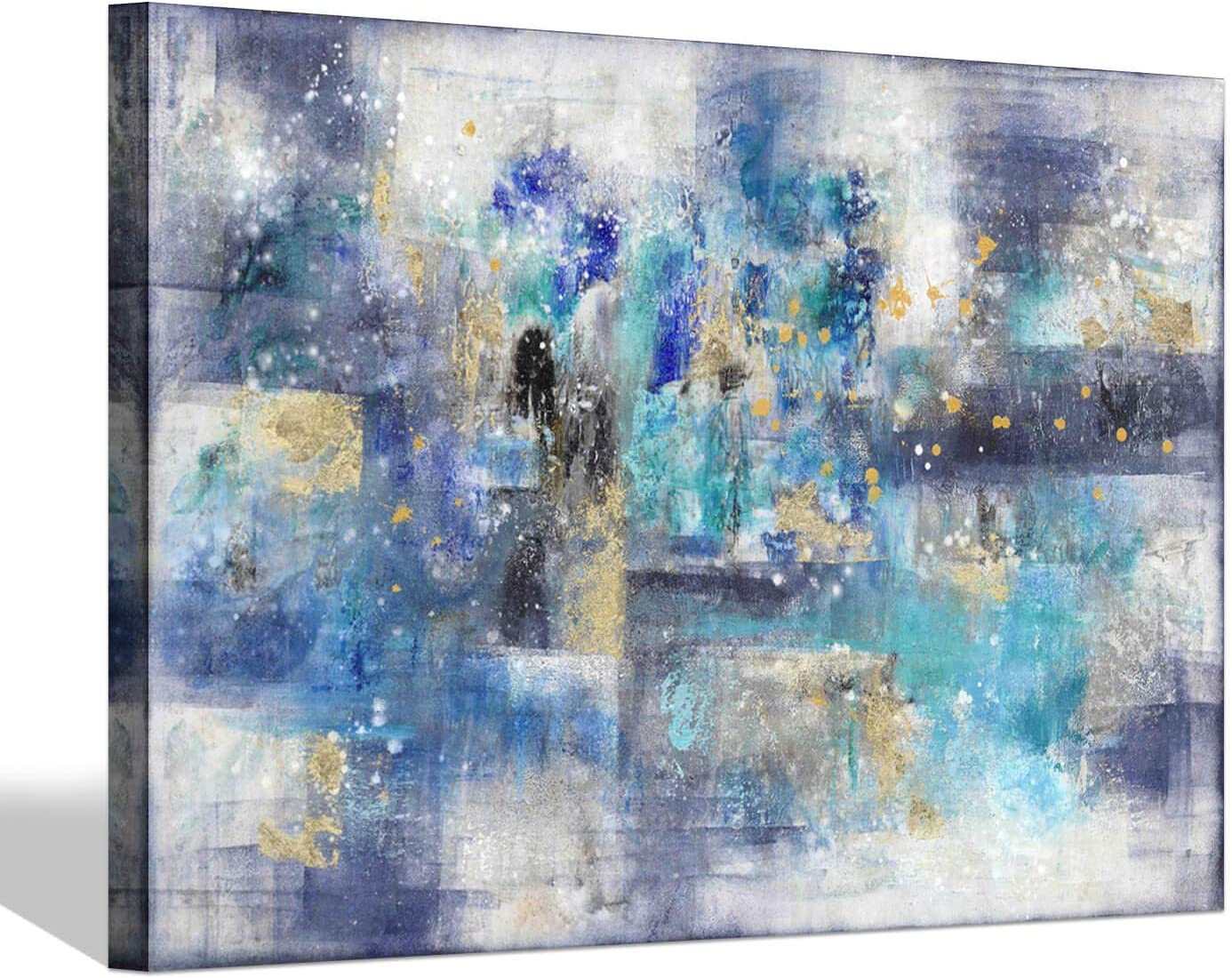 Blue Abstract Canvas Wall Art: Gray & Blue Hand Painted Artwork with Gold Foil Painting for Bedroom (45 x 30 x 1 Panel)