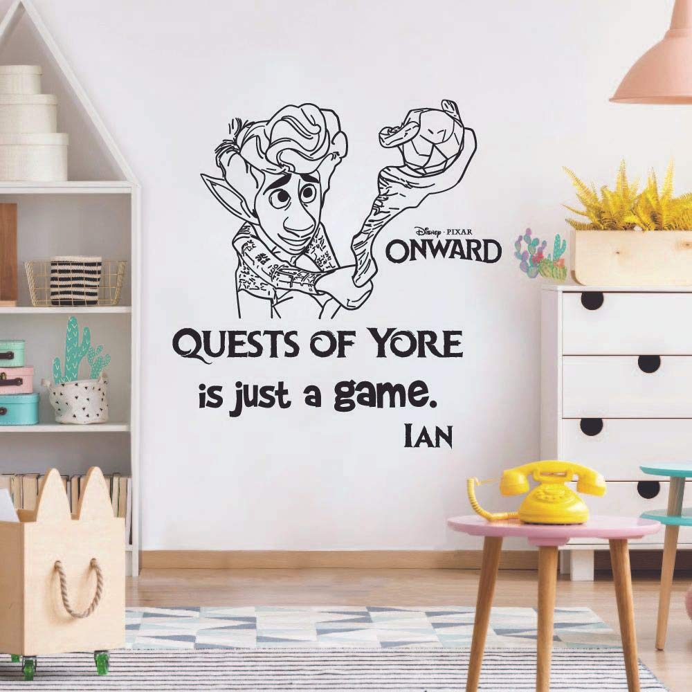 Just A Game Ian Quote Onward Movie Disney Children Cartoon Wall Sticker Art Decal for Girls Boys Room Bedroom Nursery Kindergarten Fun Home Decor Stickers Wall Art Vinyl Decoration Size (40x40 inch)