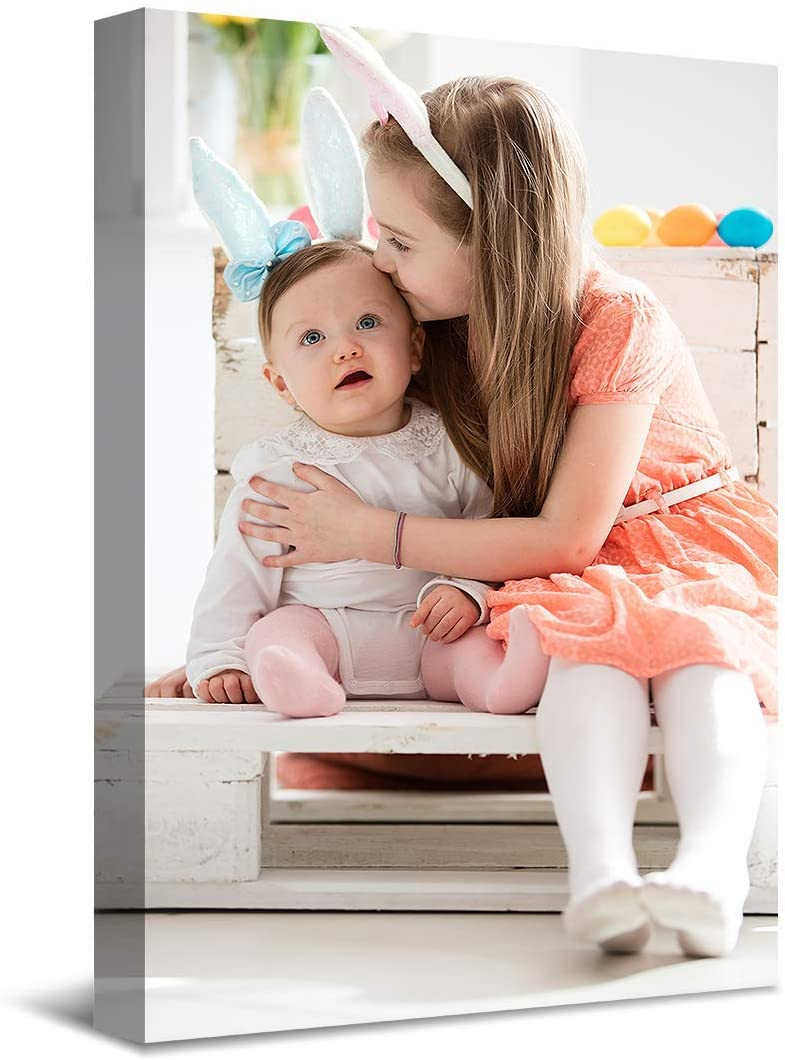 SENEW Custom Canvas Prints with Your Photo, Personalized Pictures Canvas Wall Art for Bedroom, Living Room, Wedding Baby Pet Family Picture Framed Wall Art (24