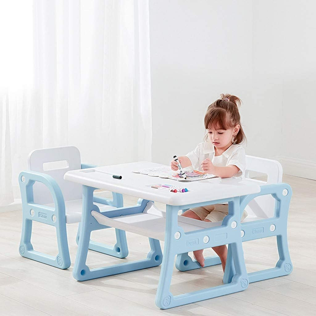 Barnrae Colorblock Kids Table and 2 Chair Set Children Activity Art Desk,Modern and Simple Children's Table and Chairs for Learning and Playing with Storage Shelf