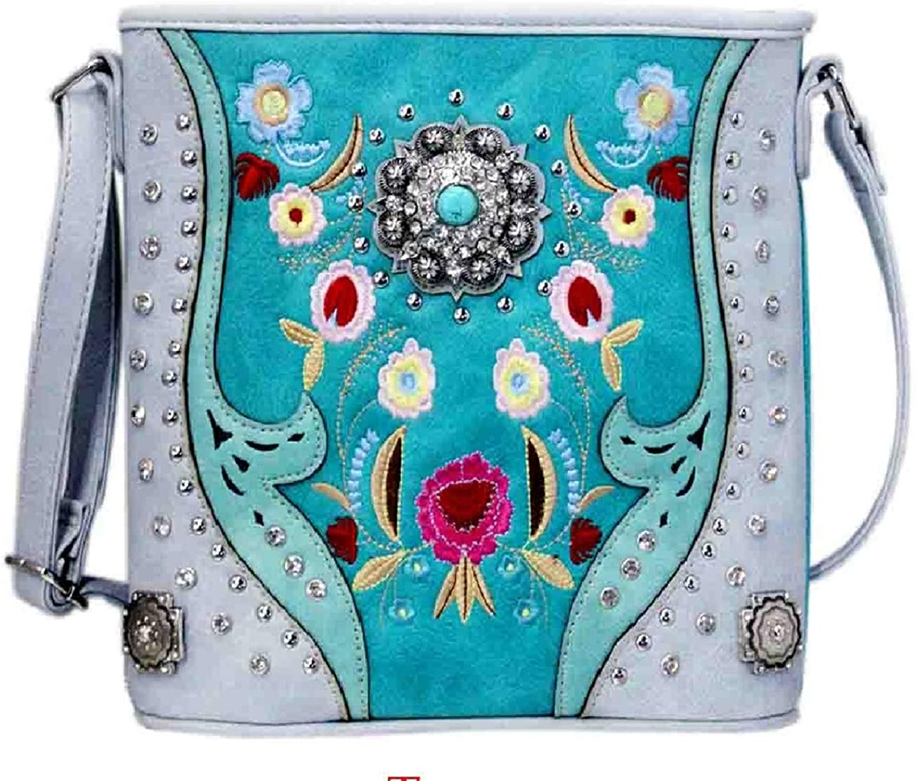 Texas West Embroidered Floral Rhinestone Crossbody Messenger Bag in 4 colors