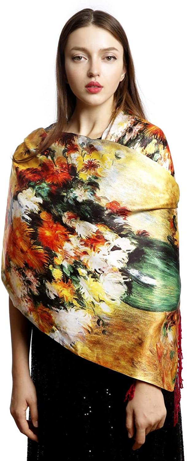 REEMONDE Painting Scarfs for Women Pashmina Shawls and Wraps Scarf long Large Warm Reversible Scarves Famous Art Collection
