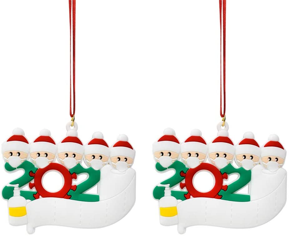 2020 Personalized Christmas Ornament Indoor 2 Pack 1-5 Family Members Quarantine Pendants DIY Creative Gift (Family of 5)