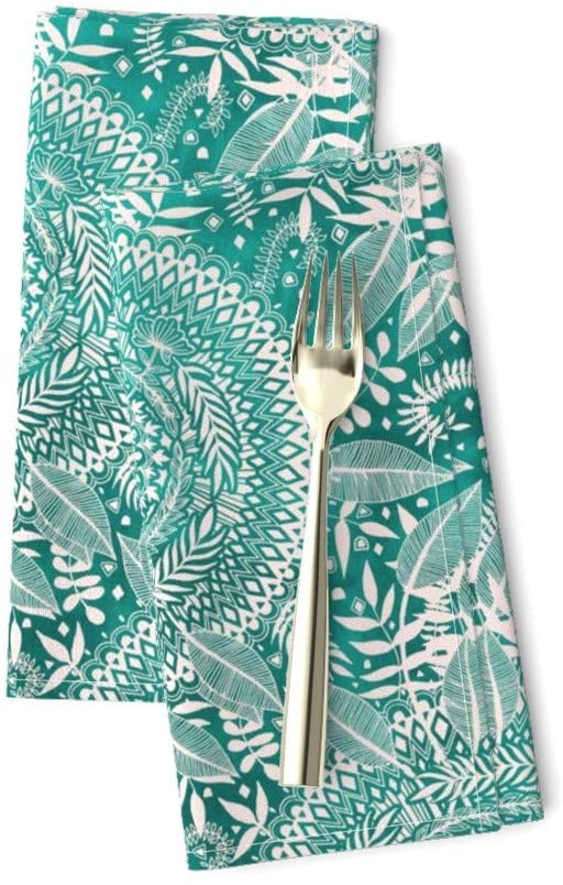 Roostery Cloth Dinner Napkins, Emerald White Mandala Green Medallion Doodle Nature Print, Linen-Cotton Canvas Dinner Napkins, 20in x 20in, Set of 2