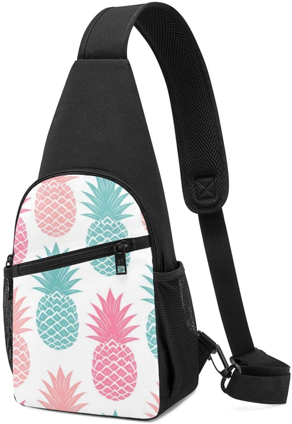 NiYoung Casual Sling Bag Lightweight Chest Package Anti-Theft Outdoor Backpack for Work, Commuting, Outdoor Fashion Colorful Pineapple Daypack