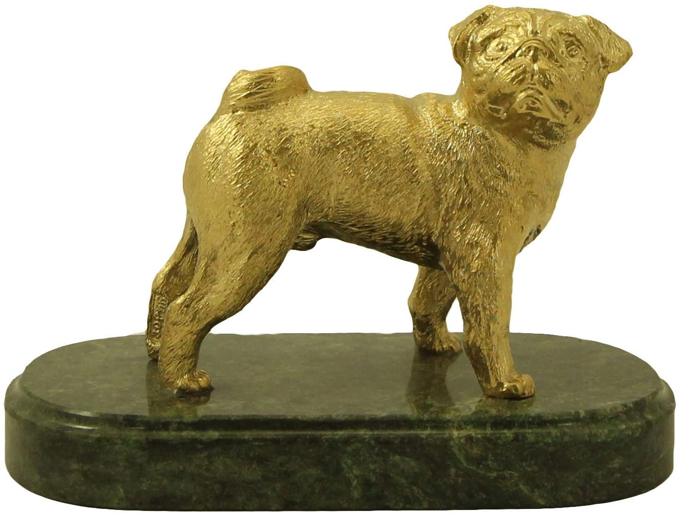 CTOC Pug Bronze Statue Handmade Figurine on Natural Ural Rock Original Paperweight Super Present and Home Decoration