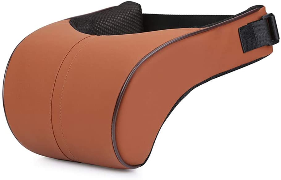 ZHONGLI Car Neck Pillow PU Leather Travel Pillow for Head Rest Neck Support for Car Seat (Khaki)