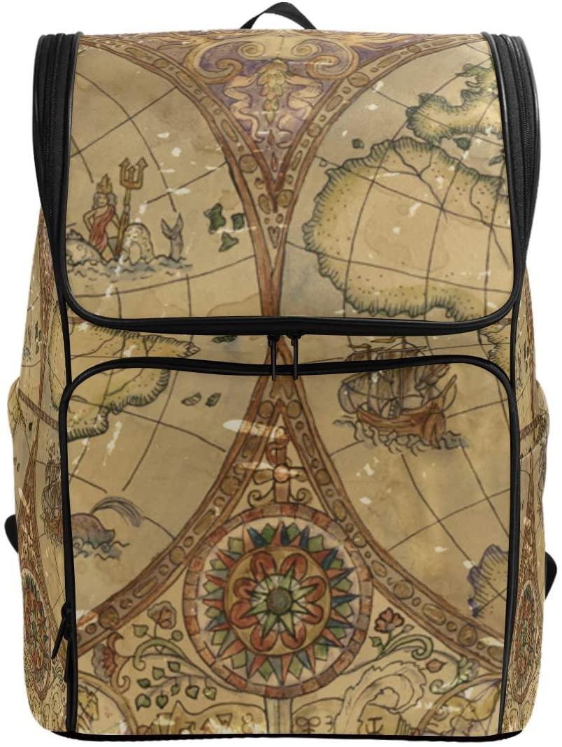 Rustic Vintage World Atlas Map Backpack Waterproof Polyester Campus Backpack Lightweight Travel Daypack Large Capacity