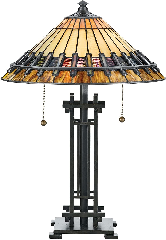 Quoizel TF489T Chastain Tiffany Table Lamp, 2-Light, 120 Watts, Black (23