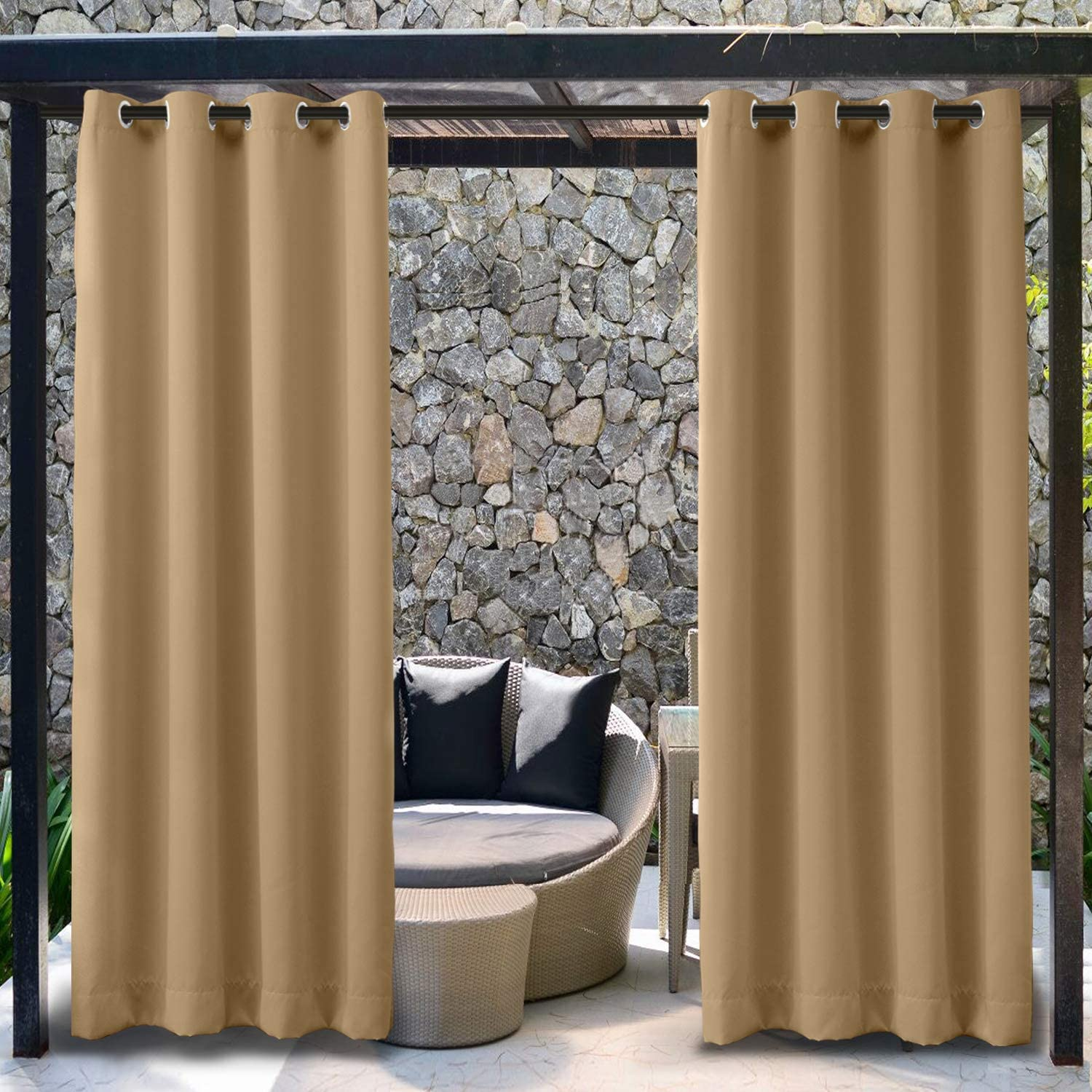 TWOPAGES Outdoor Rustproof Grommet Top Curtain for Pergola, Waterproof Blackout Privacy Curtain Thermal Insulated Drape (1 Panel, 84 Inches Wide by 96 Inches Long)