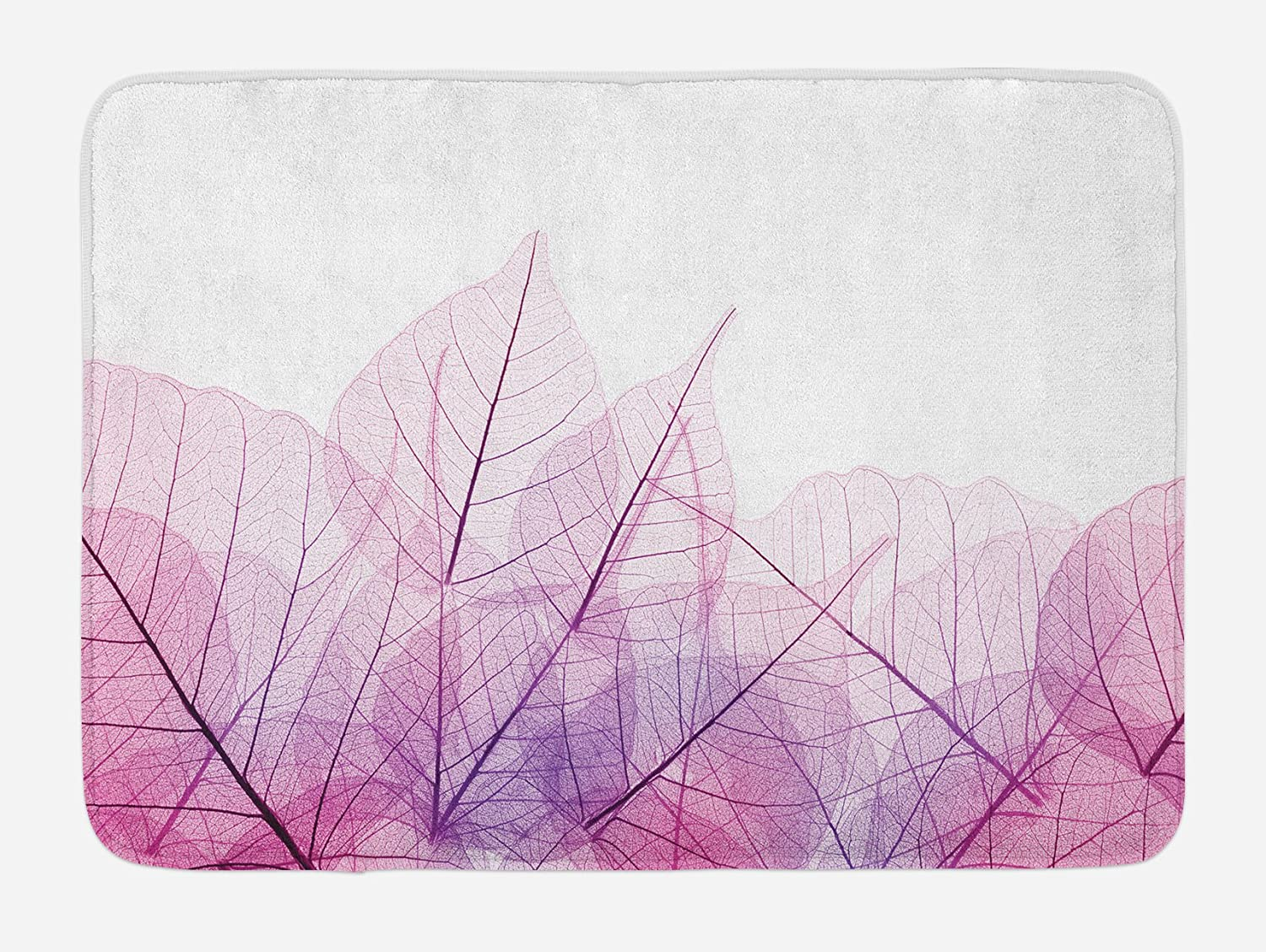 Ambesonne Leaf Bath Mat, Skeleton Spring Flowers with Contemporary Theme Fantasy Fashion Image, Plush Bathroom Decor Mat with Non Slip Backing, 29.5