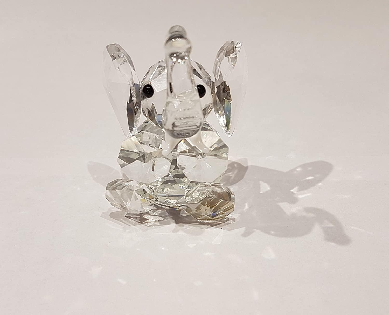 Crystal World Cut Glass Sitting Elephant Figurine