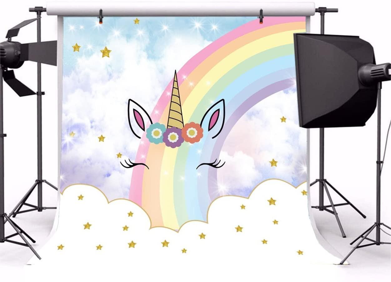 Yeele 4x4ft Sweet Unicorn Backdrop Cute Rainbow Star Baby Shower Girl Birthday Party Children Room Wallpaper Decoration Background for Infant Kid Princess Portrait Photo Video Shoot Studio Prop