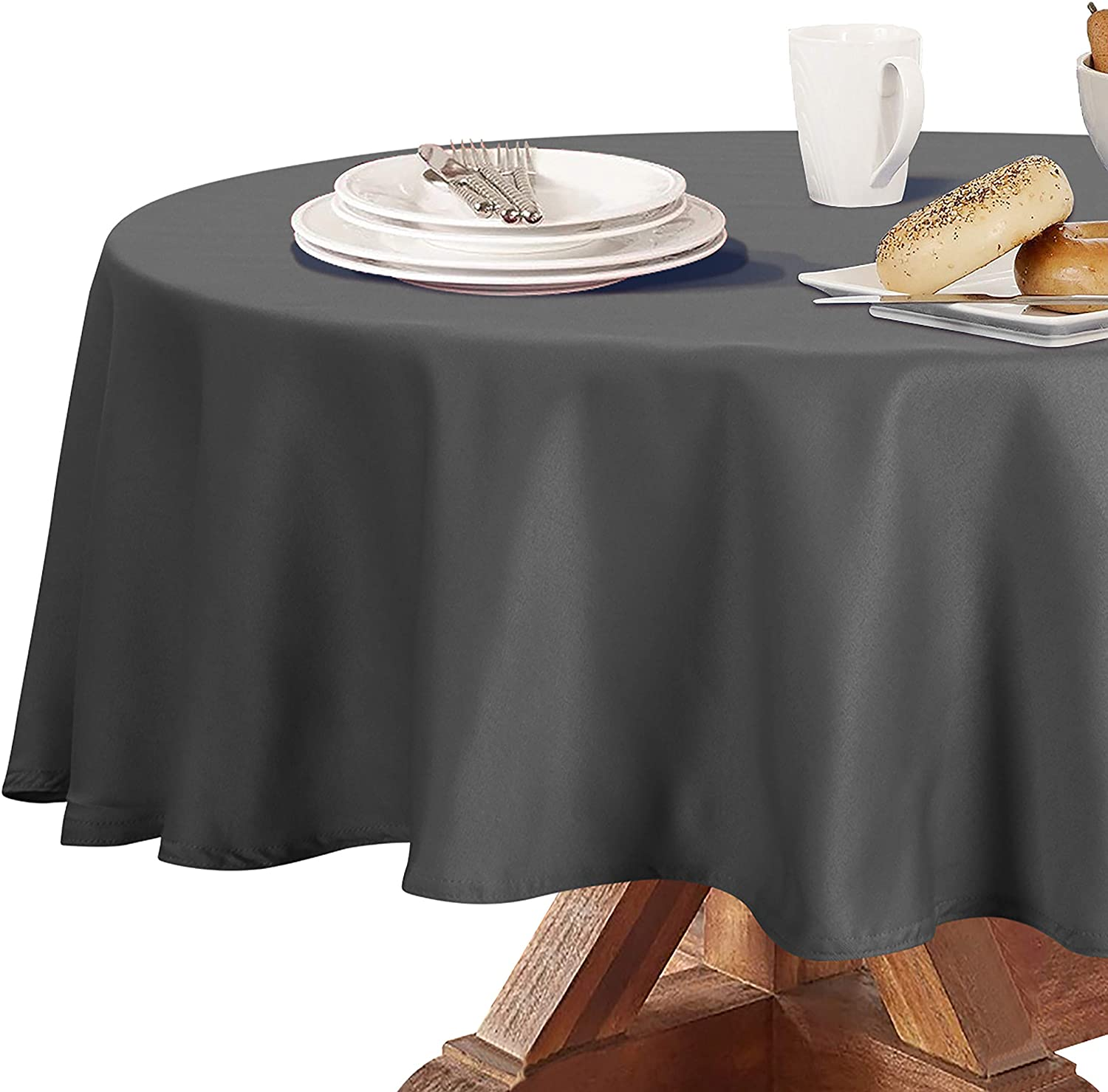 Obstal 210GSM Round Table Cloth, Water Resistance Microfiber Tablecloth, Decorative Fabric Circular Table Cover for Outdoor and Indoor Use (Grey, 70 Inch Diameter)