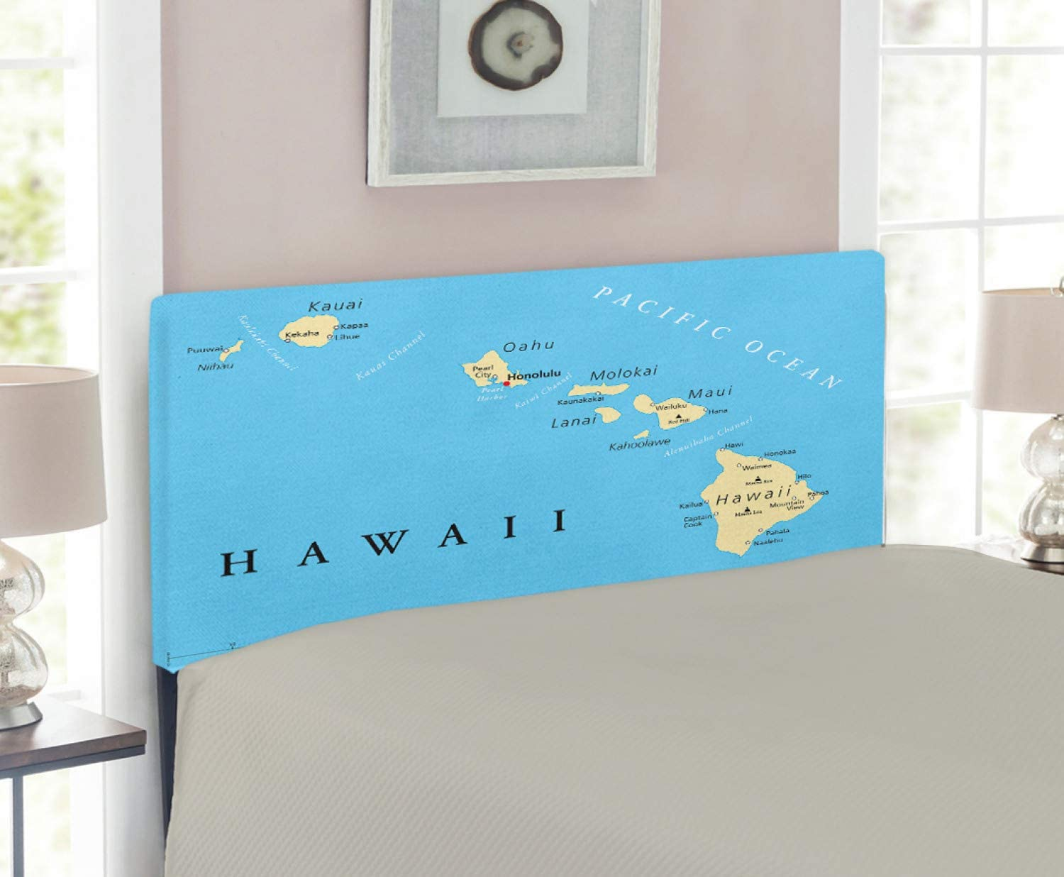Lunarable Hawaiian Headboard, Map of Hawaii Islands with Capital Honolulu Borders and Important Cities, Upholstered Decorative Metal Headboard with Memory Foam, for Twin Size Bed, Blue Ivory Black