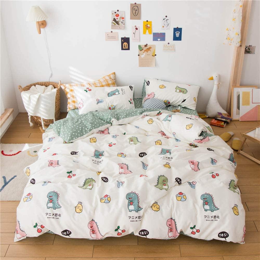 MICBRIDAL Twin Dinosaur Bedding Set Girl Boys Kids Super Cute Japanese Style Dinosaur Duvet Cover with 2 Matching Pillowcases Ultra-Soft 100% Cotton White Bedding Duvet Cover with Zipper Closure