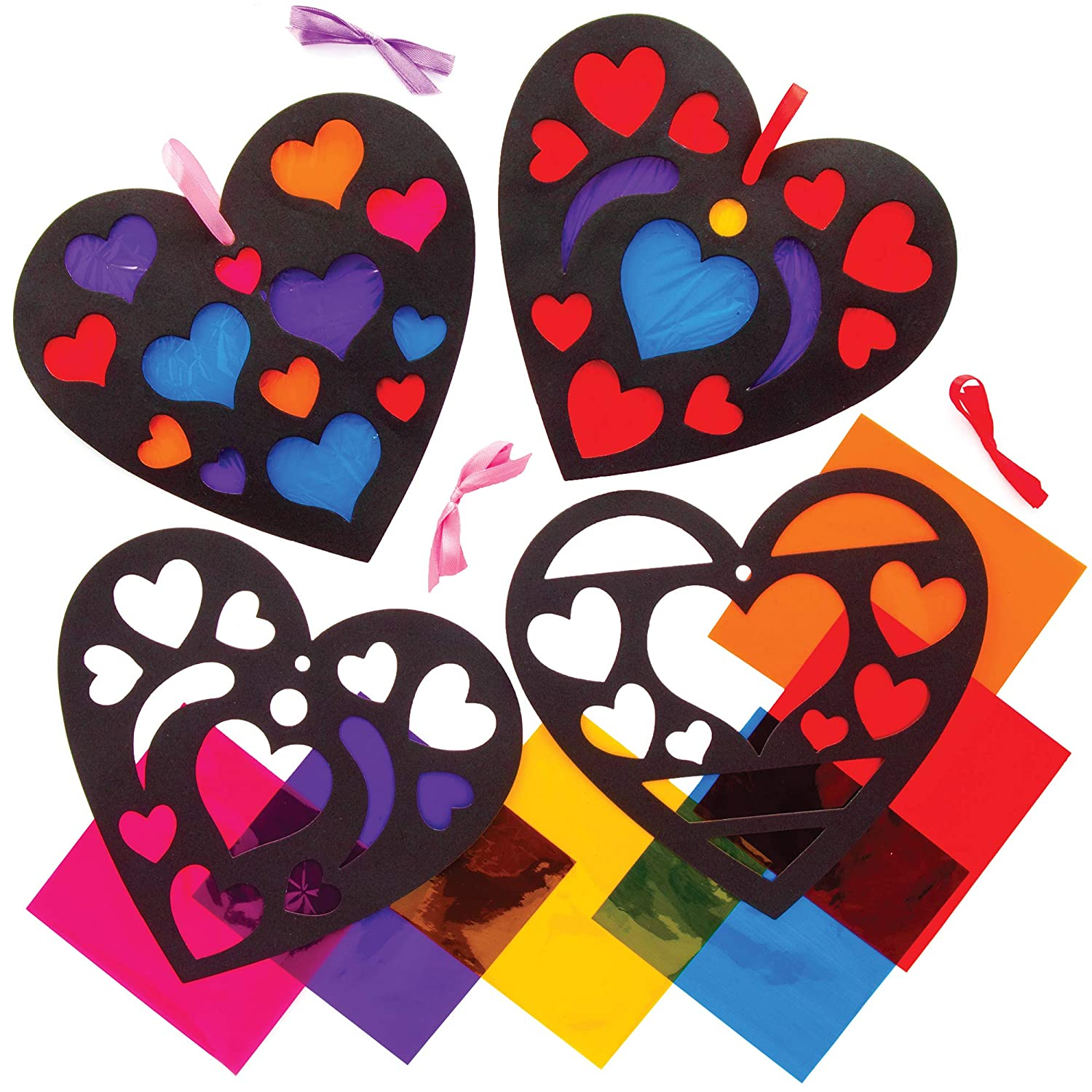 Baker Ross AT551 Heart Stained Glass Effect Decoration Kits - Pack of 6, Creative Valentines Day Art and Craft Supplies for Kids to Make and Decorate