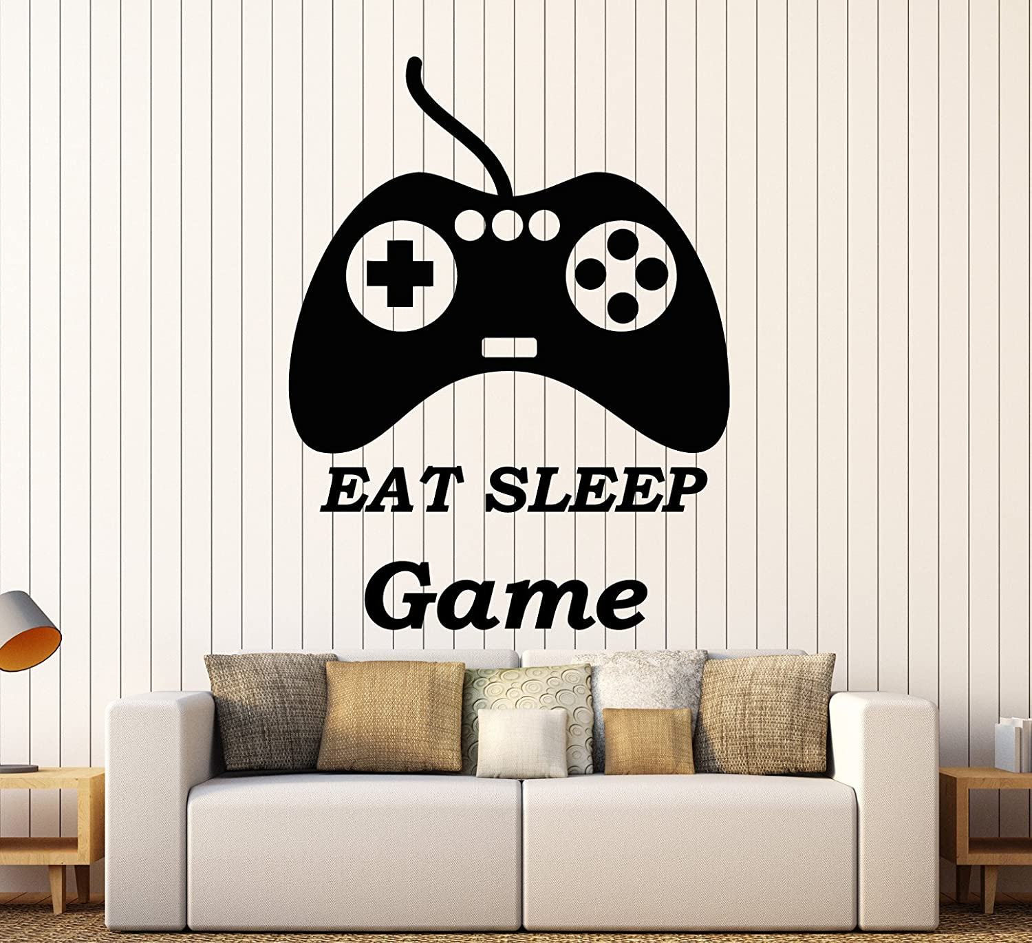 Vinyl Wall Decal Joystick Gaming Quote Video Game Stickers Large Decor (ig4020) Black