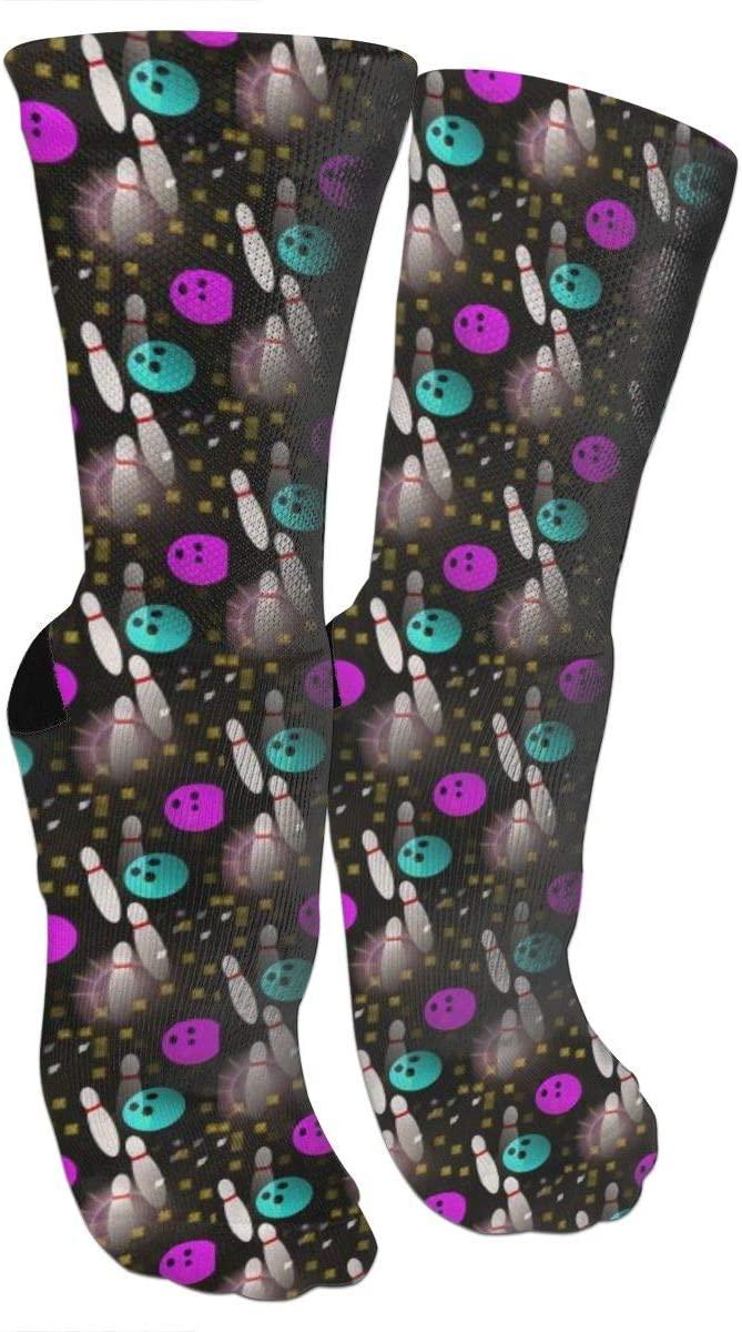 antspuent Night Fun Bowling Compression Socks Unisex Fun Novelty Crazy Dress Crew Socks