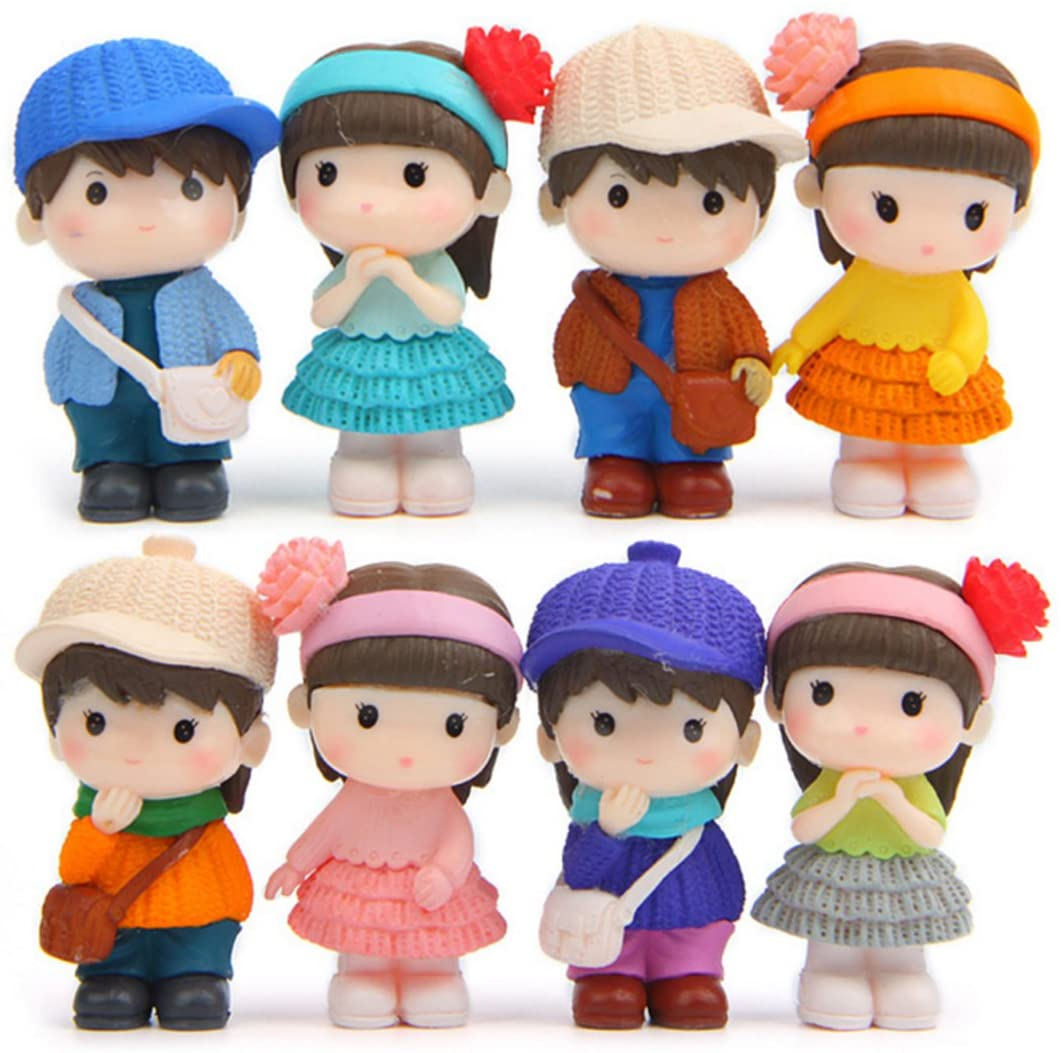 8 Pcs Cute Boys Girls Couple Figures Playset, Cake Toppers, Cake Decoration