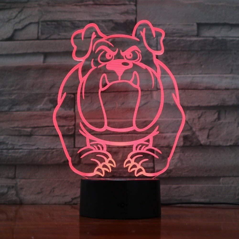 dferh 3D Night Light Abstract Dog 7 Colors Change Night Lamp LED 3D Table Light for Bedroom Sleeping Lamp Home Decor Art Decor Kids Gift