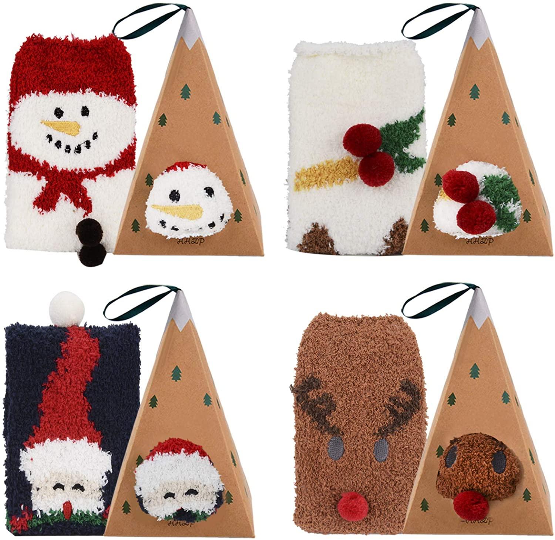 Aniwon Christmas Fuzzy Socks Xmas Cozy Slipper Socks Winter Warm Thick Home Socks with 3D Cute Pattern For Women Girls