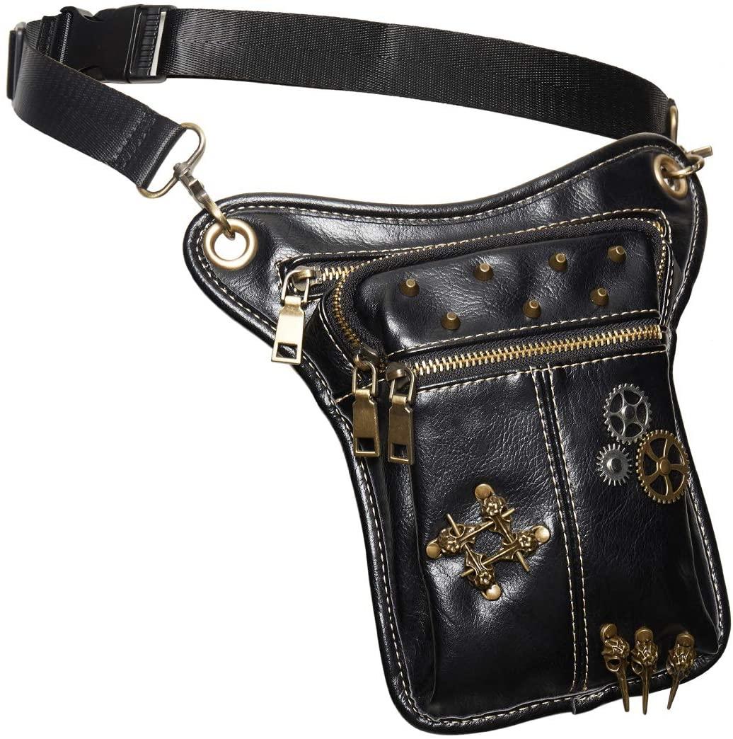 KOGOGO Steampunk Fanny Pack Leather Bum Bag Studs Waist Pouch with Bird Skulls,Black