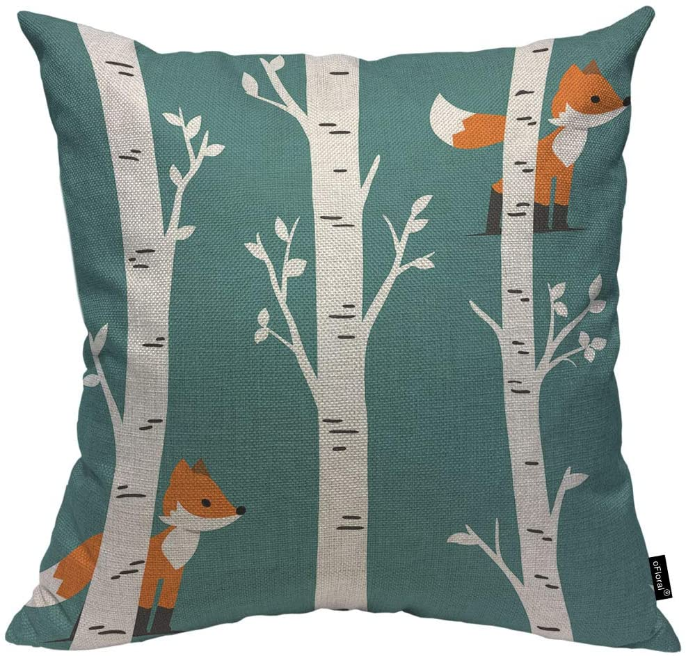 oFloral Fox with Birch Trees and Leaves Throw Pillow Case Cushion Cover Animal Nursery Cotton Linen for Couch Bed Sofa Car Waist 16 x 16 inch