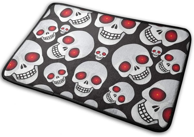 NiYoung Halloween Door Mat Outdoor Rugs (40cmx60cm) Funny Anti- Slip Water Absorbent Fouling-Proof - Red Eyes Skulls Black