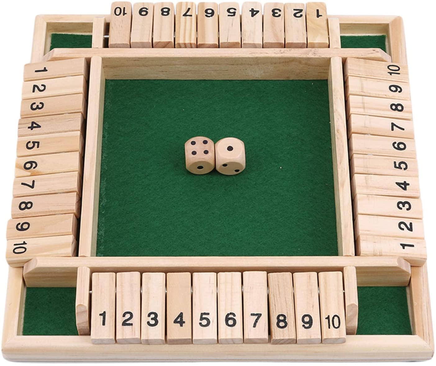Winwinfly 1Set 4 Sided Large Wooden Board Game, 8 Dice & Shut-The-Box Rules Smart Game for Learning Numbers, Strategy & Risk Management Shut The Box Dice Game (2-4 Players) for Clever Kids & Adults
