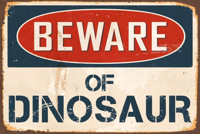 "Cortan360 Beware of Dinosaur 8"" x 12"" Vintage Vinyl Retro Sticker Sign"