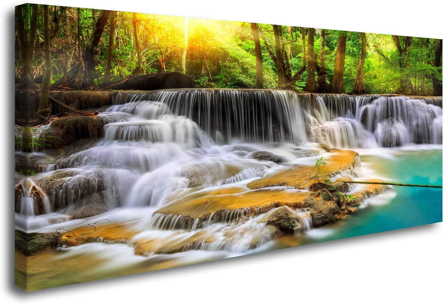 ArtHome520 Turquoise Fall Pond Home Decor Canvas Print Yellow Autumn Waterfall Lanscape Picture Wall Art Living Dining Room Decorations Modern Framed (20''x40'')