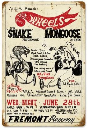 Old Time Signs Snake vs Mongoose Metal Sign Wall Decor 12 x 18