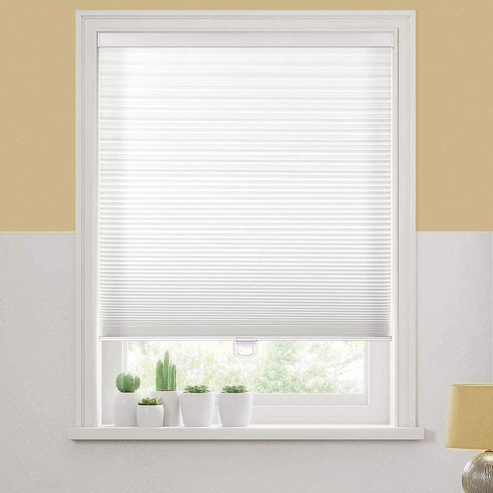 Bidook Cellular Shades Window Blinds Honeycomb Light Filtering Non-Woven Cordless Safe White 28