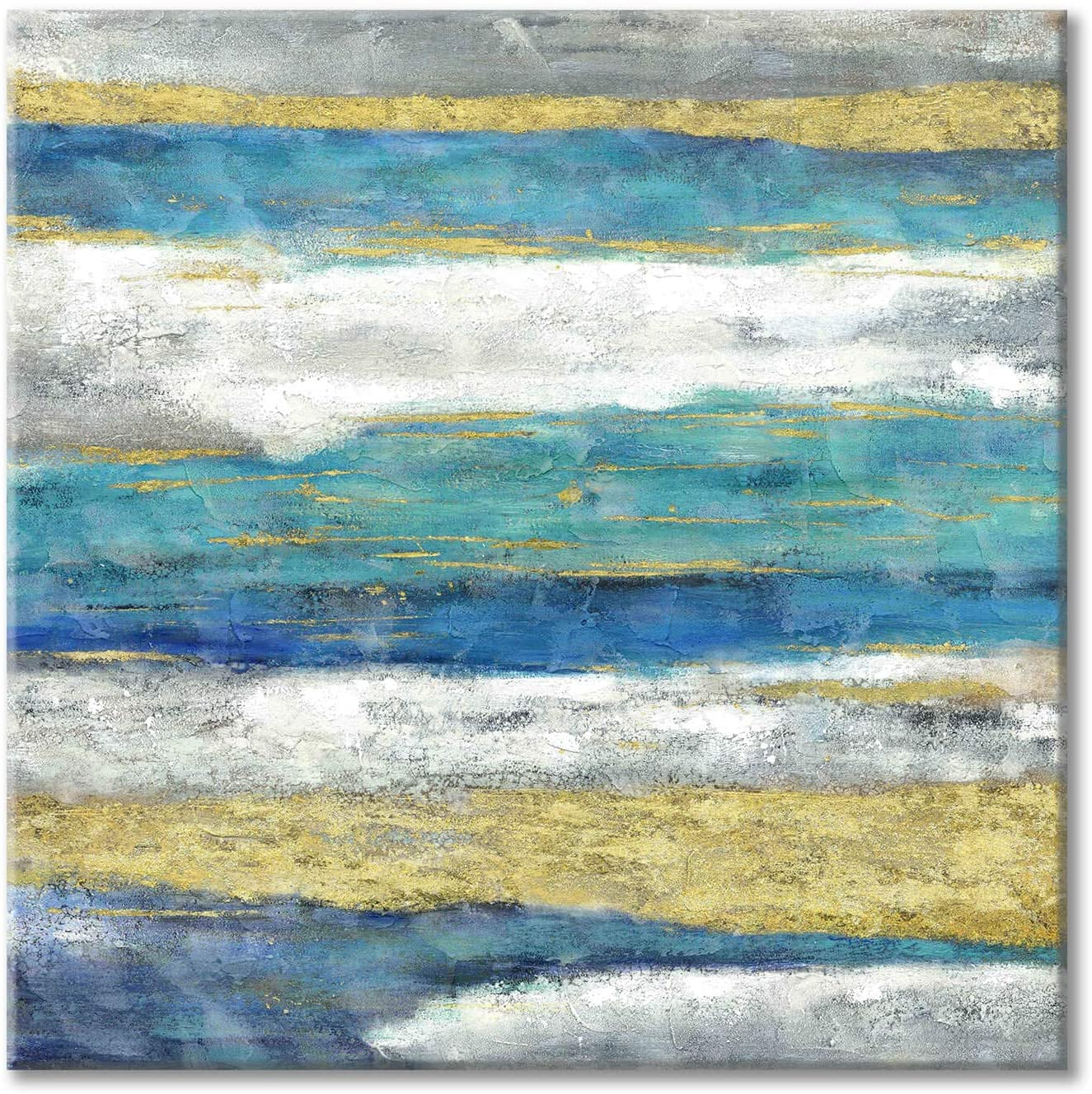 Abstract Painting Canvas Wall Art: Hand Painted Artwork Stripe Picture for Bedroom Wall (24 x 24 x 1 Panel)