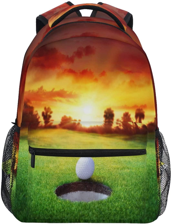 Ombra Backpack Golf Ball Sunset Hole School Shoulder Bag Large Waterproof Durable Bookbag Laptop Daypack for Students Kids Teens Girls Boys Elementary