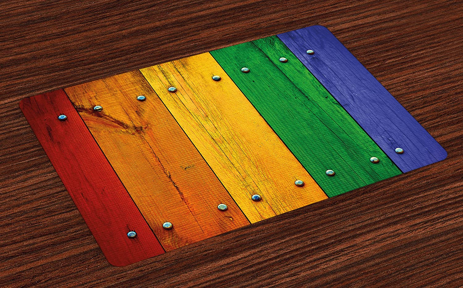 Lunarable Modern Place Mats Set of 4, Rainbow Colored Red Marigold Green and Blue Painted Woods Farm Door Image Print, Washable Fabric Placemats for Dining Table, Standard Size, Orange Green