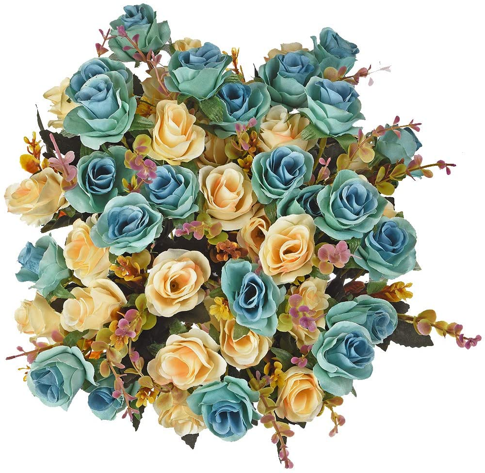 4pcs Bouquets of Artificial Roses, Wedding Flower Bouquets for Home Office Decoration/Peacock Blue