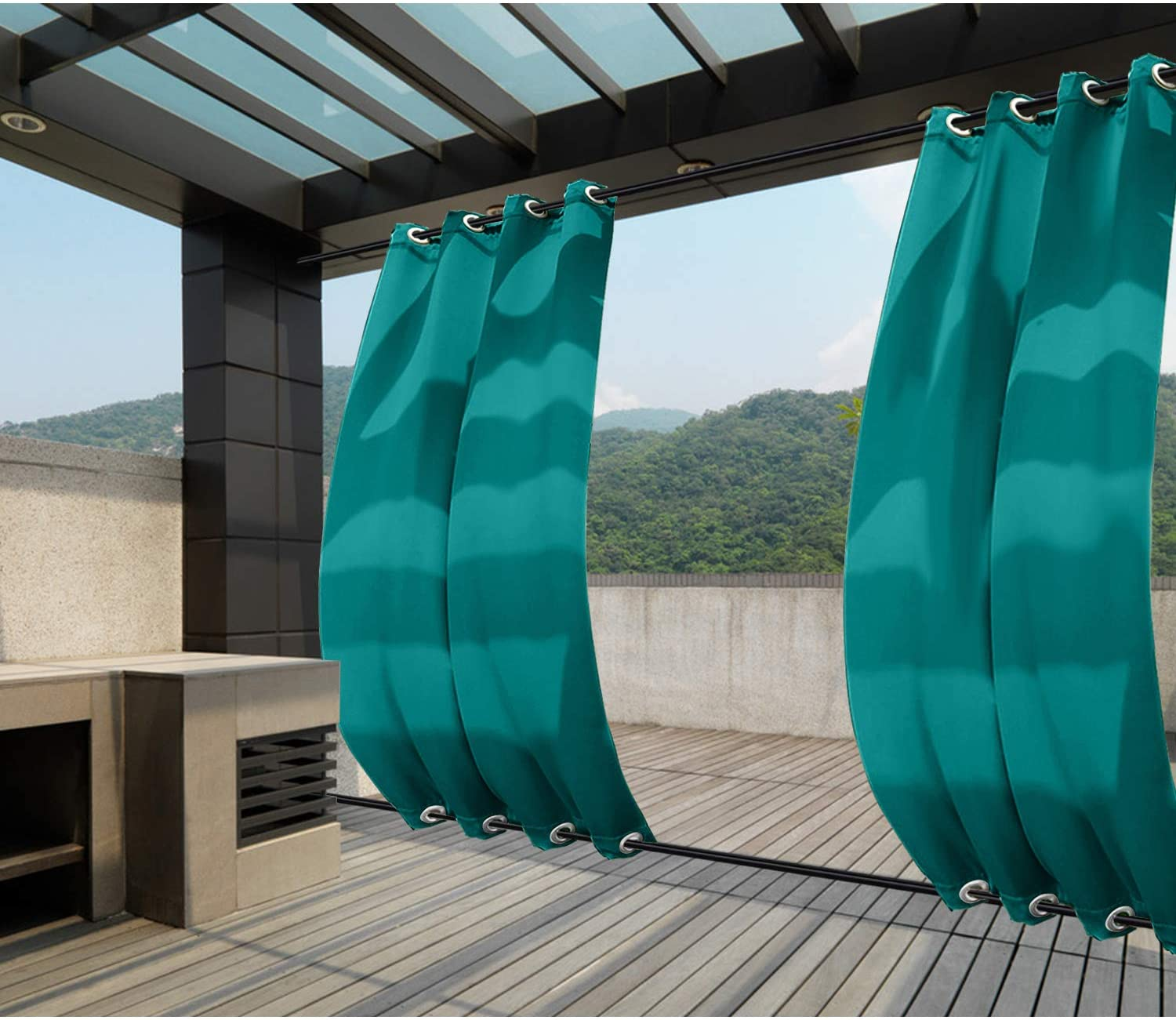 Macochico Outdoor Windproof Curtains Thermal Insulated Noise Reducing Lightproof Blackout Draperies Grommet at Top and Bottom for Patio Porch Gazebo Garden Turquoise 52W x 96L (1 Panel)