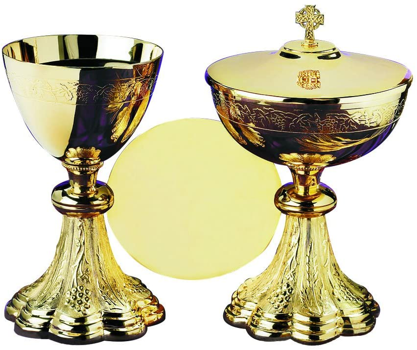 Grapes & Wheat Engraved Chalice and Ciboria Set with Paten, Gold Plated Over Brass