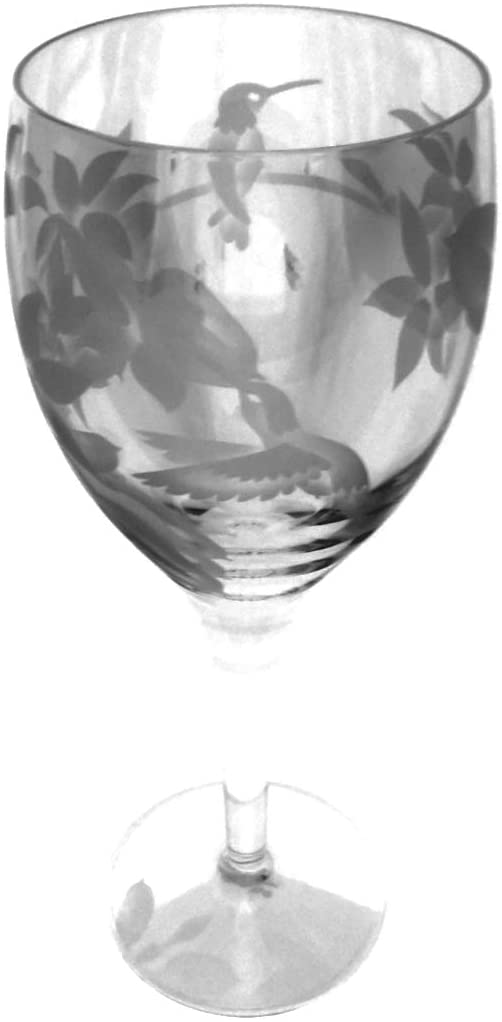 IncisoArt Hand Etched Italian Crystal Goblet Sandblasted (Sand Carved) Handmade Wine Water Glass Engraved (Hummingbird Jasmine, 340 Milliliter (11.5 Ounce) White Wine)