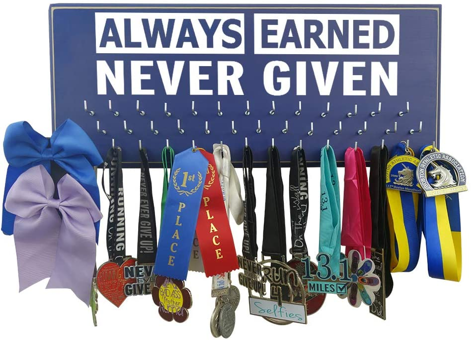 Running On The Wall-Gifts for Runners-Marathon Medal Display-Medal Rack for Running- Awards Hanger - Wall Mounted Holder-Always Earned. Never Given