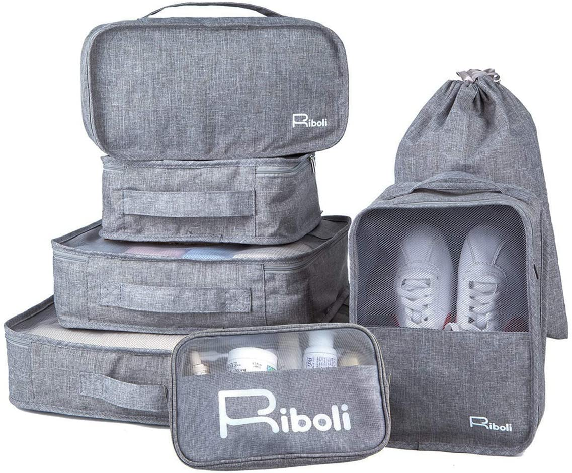 RIBOLI 7-Pcs Packing Cubes Set with Shoe Bag Toiletry Bag and Laundry Bag, Packing Organizers for Travel Luggage organizer, Waterproof Polyester, Grey