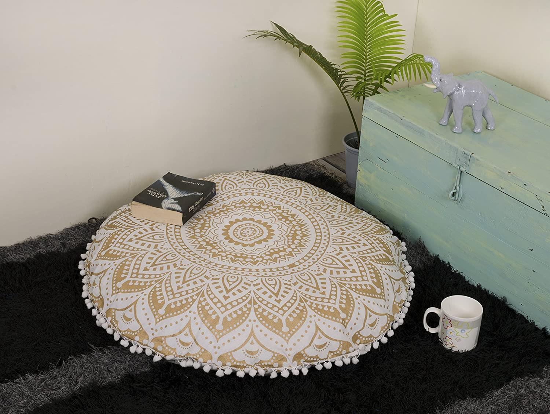 Popular Handicrafts Mandala Round Hippie Floor Pillow Cover | 100% Cotton Luxury, Artisan Room Décor for Your Living Room, Bedroom | Screen Printed Design 32