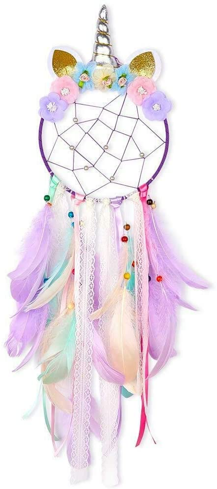 Unicorn Dream Catcher Purple Flower Feather Pendant Wall Hang Hanging for Car Home DIY Girls Kids Nursery Mobile Bedroom Decoration Party Gift Favor Ribbon Decor by So Cal Pro