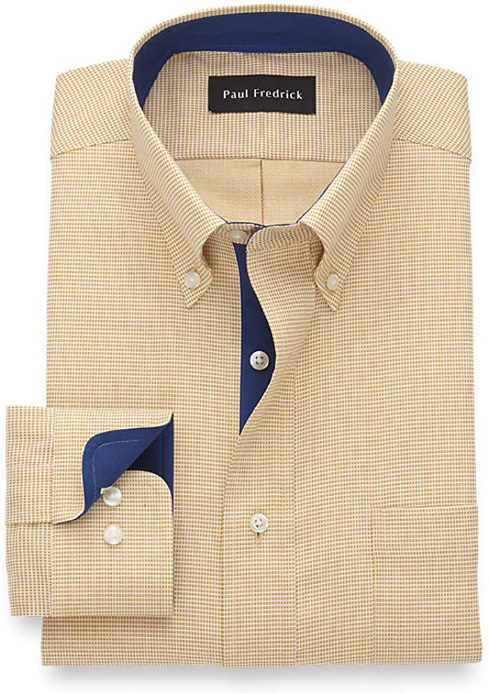 Paul Fredrick Men's Tailored Fit Non-Iron Cotton Solid Button Down Dress Shirt