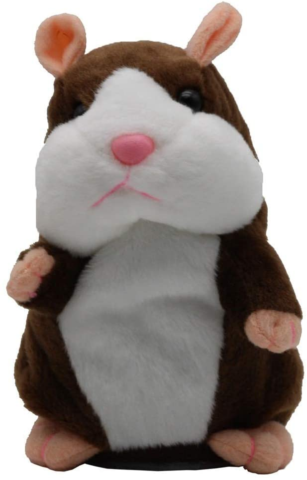 ZHENLI New Talking Hamster Mouse Pet Plush Toy Hot Cute Speak Talking Sound Record Hamster Educational Toy for Children Gifts (Dark Brown)