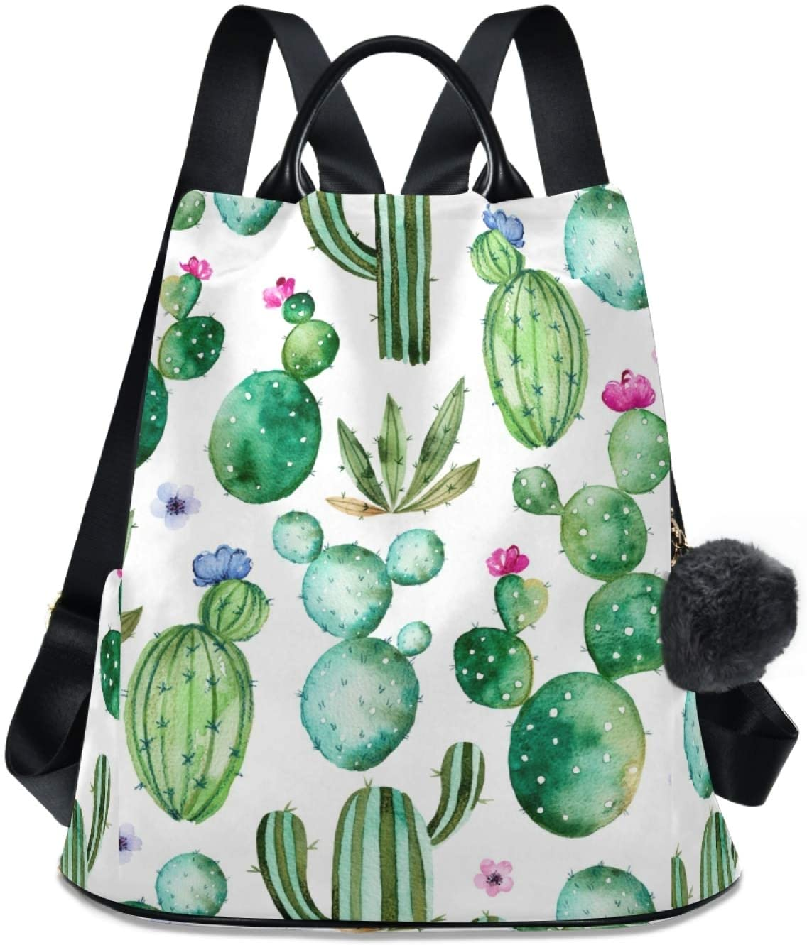 ALAZA Cactus Cacti with Flowers White Backpack Purse for Women Anti Theft Fashion Back Pack Shoulder Bag