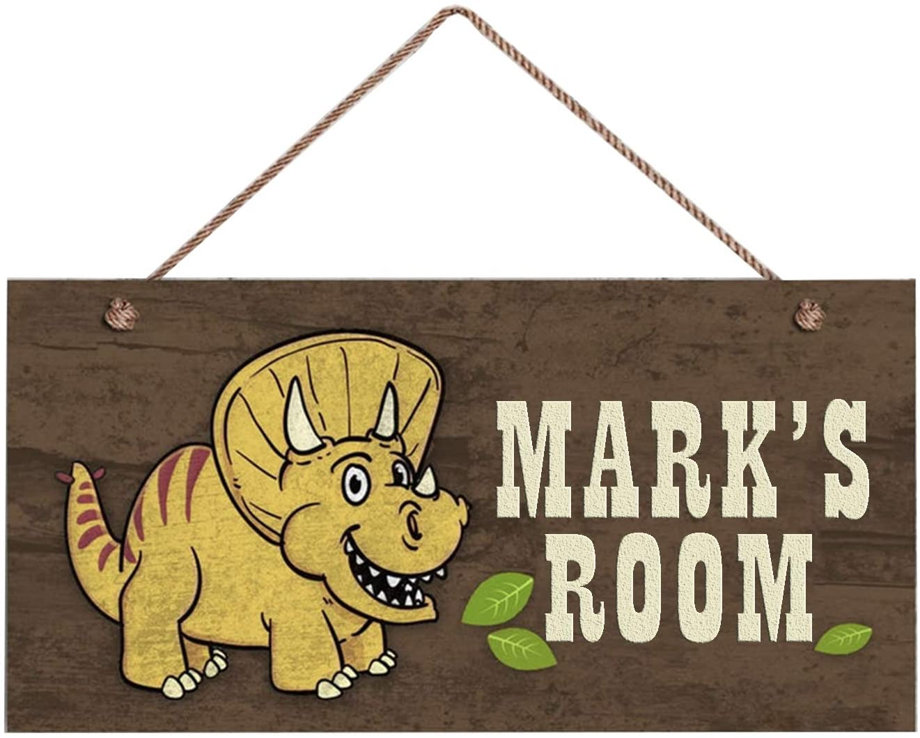 MUPIANLX Yellow Dinosaur Sign, Woodland Personalized Sign,Kid's Name, Kids Door Sign, Baby Nursery Wall Decor, 10